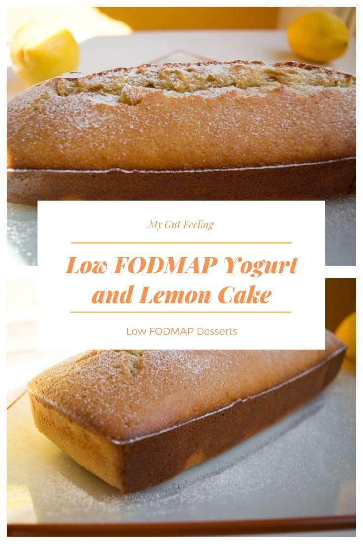 Easy to make and even easier to love Low FODMAP Yogurt and Lemon cake. A fluffy and moist yogurt cake with almonds and a lemon scent.