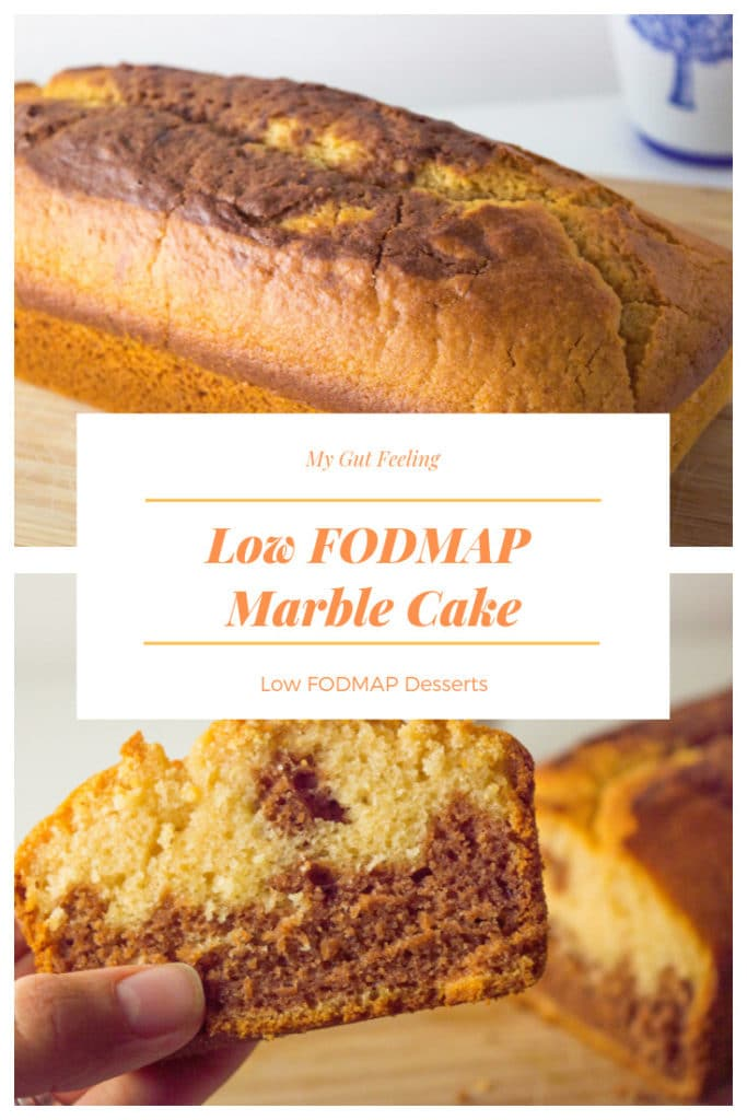 This low fodmap marble cake recipe is moist, fluffy and easy to make!