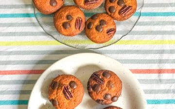 two plates filled with muffins