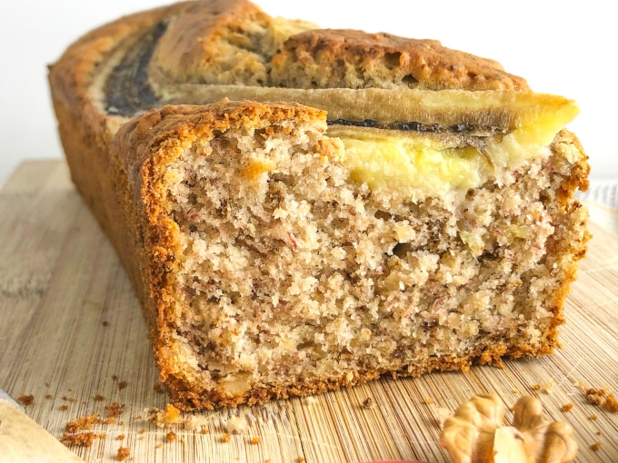 Detail of a cutted banana nut bread